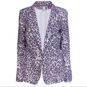 Rachel Zoe Snow Leopard Print Blazer Jacket M